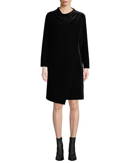 Joan Vass Long-Sleeve Draped-Front Velvet Dress w/ Side