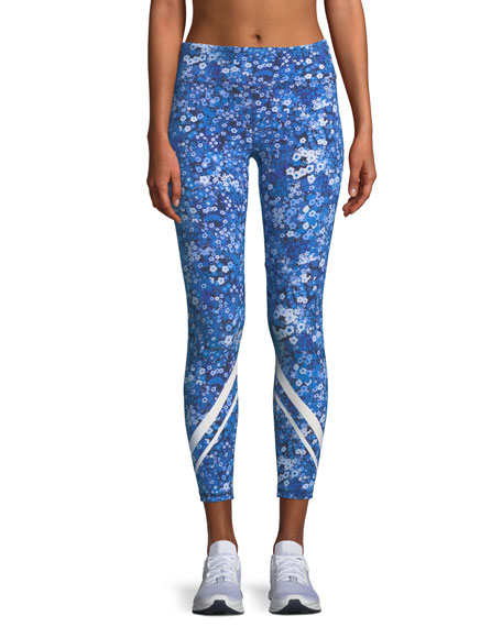 Floral-Print Chevron Cropped Activewear Leggings