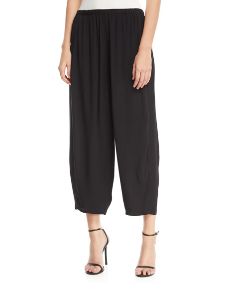 Relaxed Pull-On Cropped Pants, Plus Size