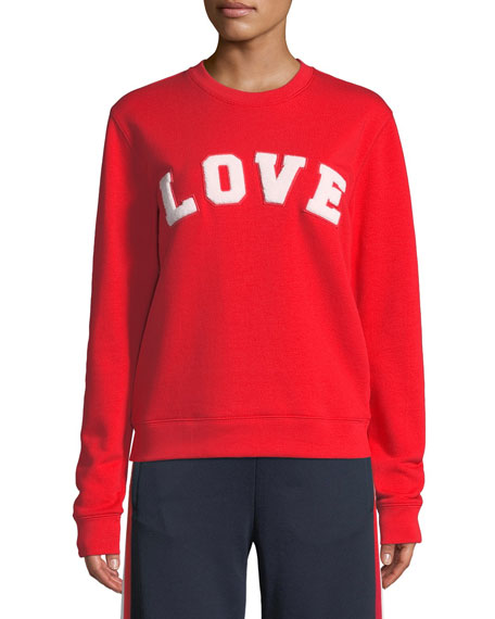 Love Crewneck Long-Sleeve Cotton Terry Sweatshirt