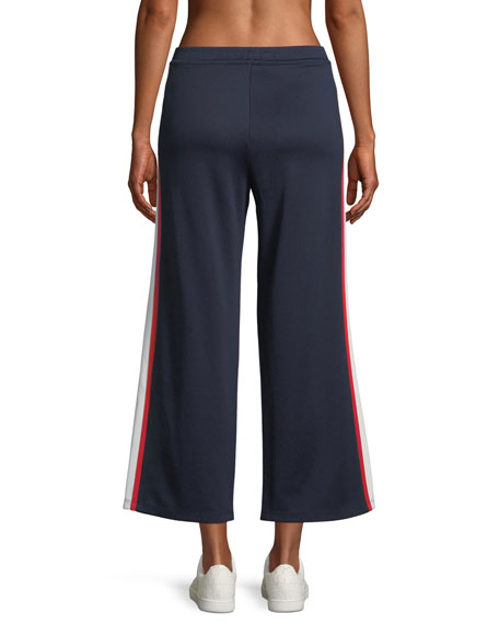 Wide-Leg Cropped Side-Stripe Jersey Track Pants