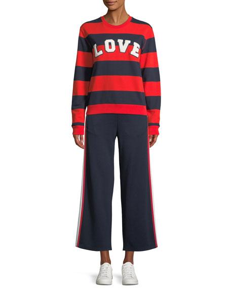 Wide-Leg Cropped Side-Stripe Jersey Track Pants