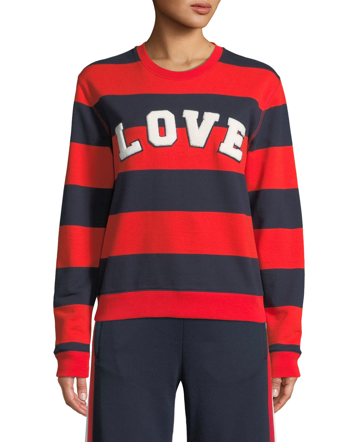 1a80152549d1 Tory Sport Love Striped Yarn-Dyed Graphic Sweatshirt