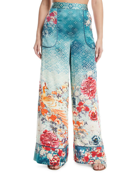 Cuffed Floral-Print Silk Lounge Pants