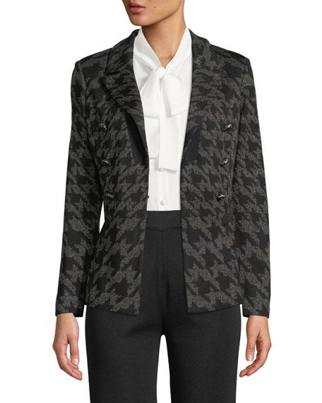 Misook Plus Size Houndstooth Knit Blazer Jacket