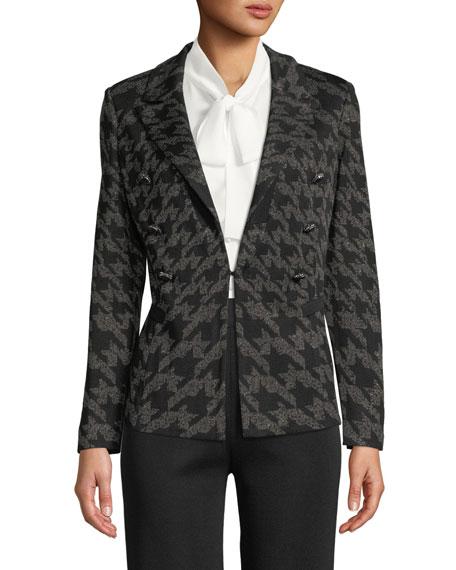 Misook Houndstooth Knit Blazer Jacket