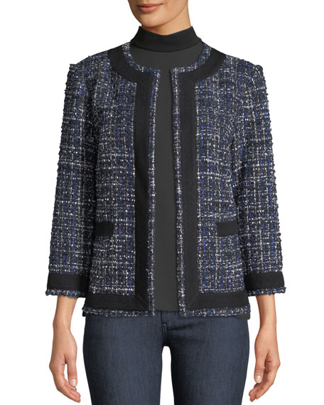 Misook Tweed Knit Jacket w/ Border Trim, Petite