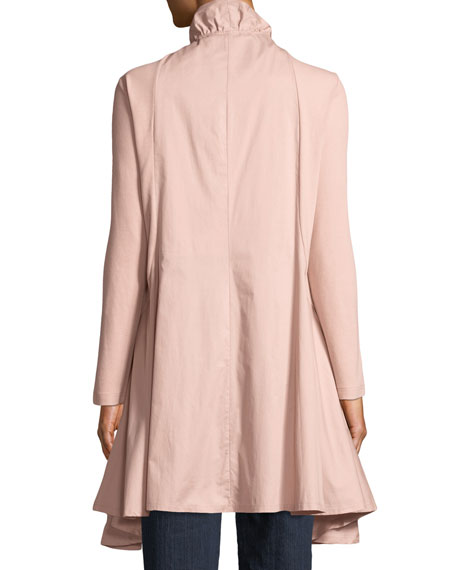 Joan Vass Plus Size Zip-Front Stretch Interlock/Woven Combo Jacket