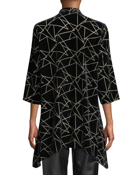 Caroline Rose Petite Triangle Devore Velvet Side-Fall Button-Front Tunic