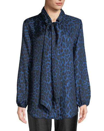 Leopard-Print Silk Blouse, Plus Size