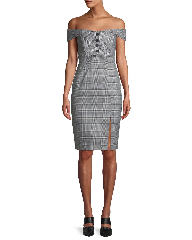 5d54bc2614 Bardot Bella Off-the-Shoulder Check Cocktail Dress | Neiman Marcus