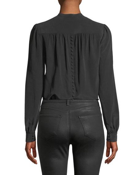 Raquel Shirred Button-Back Silk Top