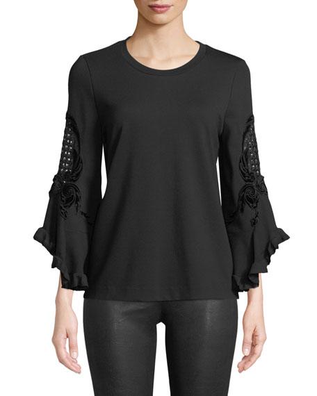 Kobi Halperin Tamara Embroidered-Sleeve Blouse