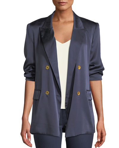 Taryn Double-Breasted Silk Blazer