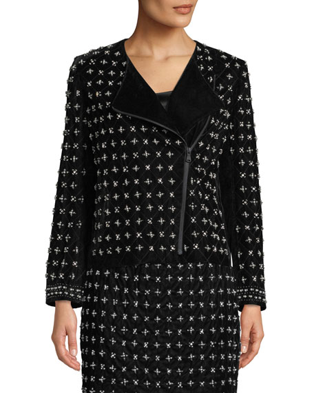Kobi Halperin Lavinia Beaded Zip-Front Jacket