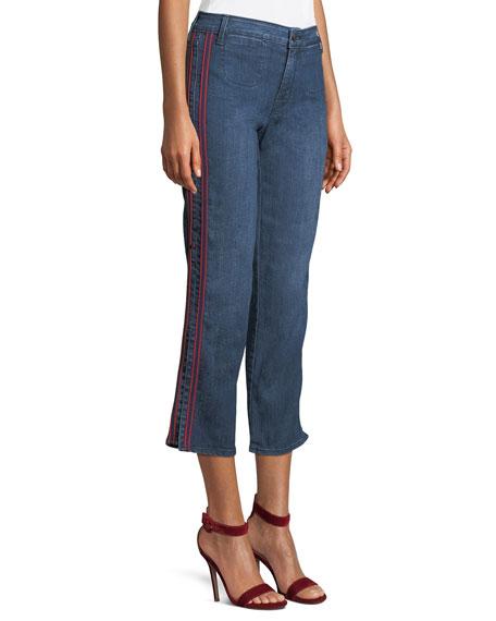 Stella Side-Stripe Cropped Straight-Leg Jeans
