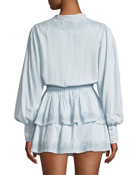 LoveShackFancy Zoe Embroidered Cotton Short Dress