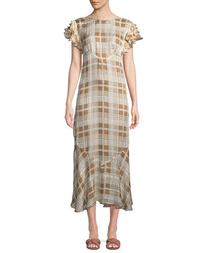 Sloane Ruffle Check Short-Sleeve Dress