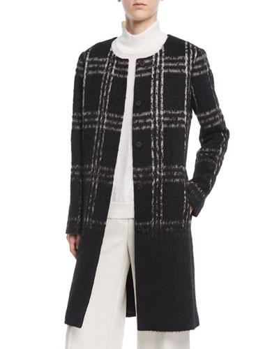 Round-Neck Alpaca Shadow-Plaid Coat