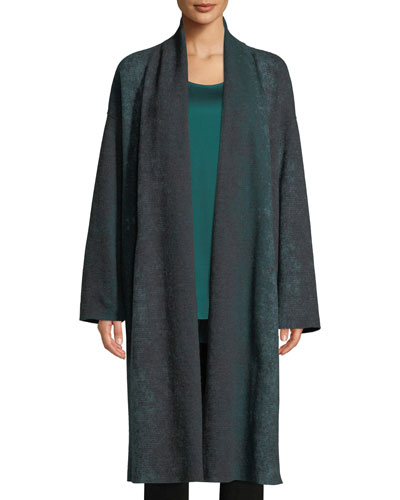 Oxidized Boiled Wool Long Kimono Coat w/ Side Slits