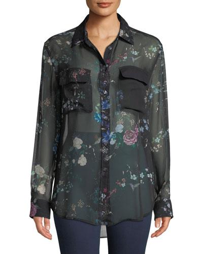 d8df943f863fd9 Button-Front Long-Sleeve Floral-Print Sheer Silk Blouse