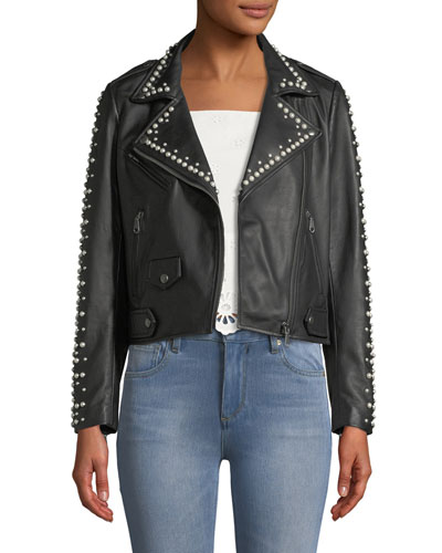 Wes Leather Moto Jacket w/ Pearls