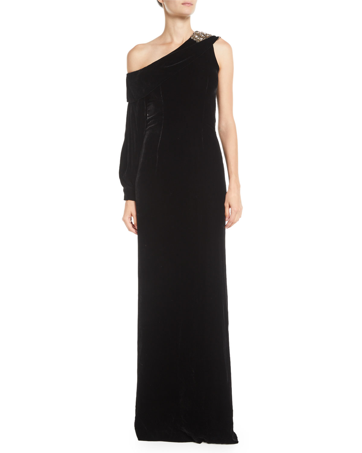 08620e07c4 Austine Velvet One-Shoulder Gown w/ Brooch