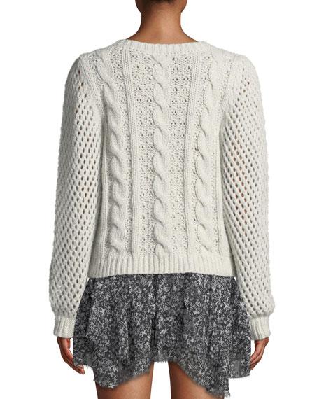 LoveShackFancy Rosie Cabled Metallic Alpaca Sweater