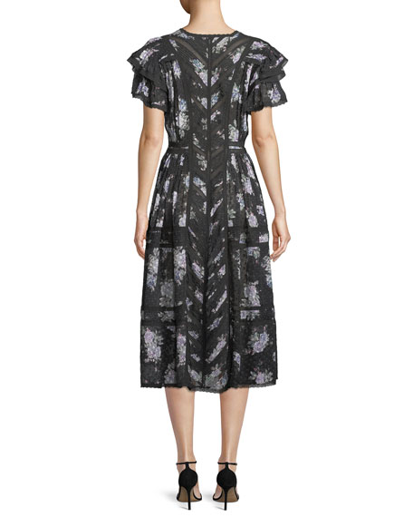 Image 2 of 4: Claribel Floral Silk Lace Midi Dress
