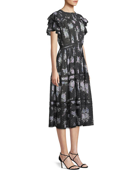 Image 3 of 4: Claribel Floral Silk Lace Midi Dress