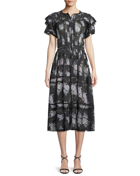 Image 1 of 4: Claribel Floral Silk Lace Midi Dress