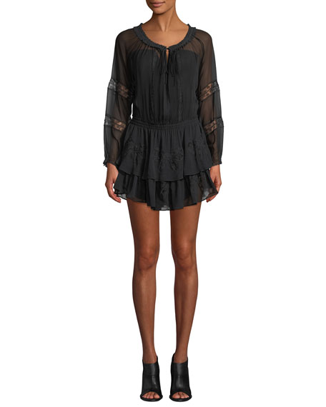 Loveshackfancy Long-Sleeve Silk Popover Dress