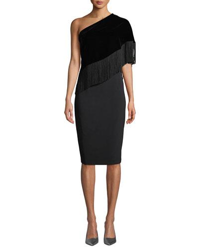Briar Fringe One-Shoulder Cocktail Dress w/ Velvet Overlay