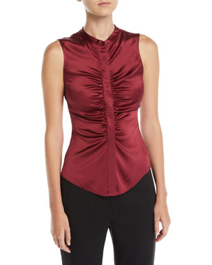 be67e290ed8d Theory Ruched Satin Fitted Button-Front Sleeveless Top