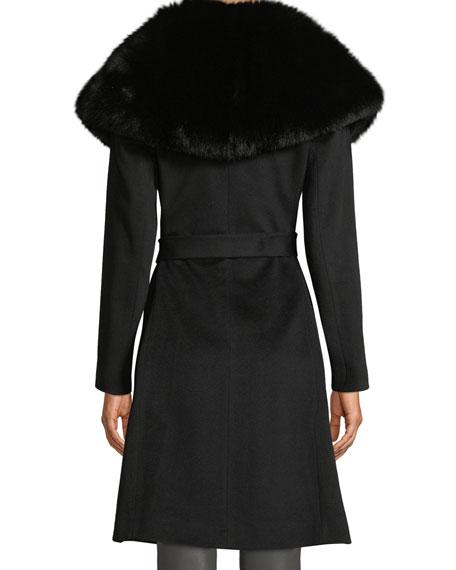 Fleurette Oversize Fur-Collar Wool Wrap Coat