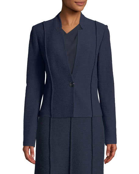 St. John Collection Ana Boucle Knit Seamed Blazer Jacket