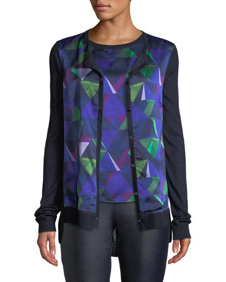 St. John Collection Jersey Knit Cardigan w/ Geo-Print Silk Front