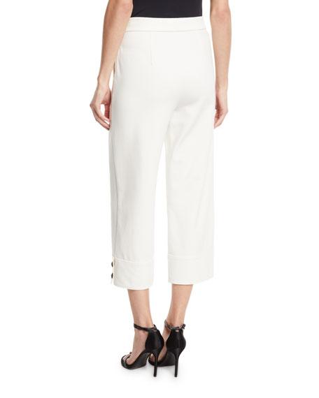 St. John Collection Stretch Double Knit Wide-Leg Capri Pants w/ Button Cuffs