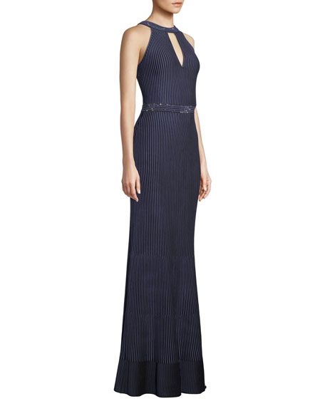 St. John Collection Halter-Neck Sleeveless Luxe Ottoman Knit Evening Gown w/ Sequins