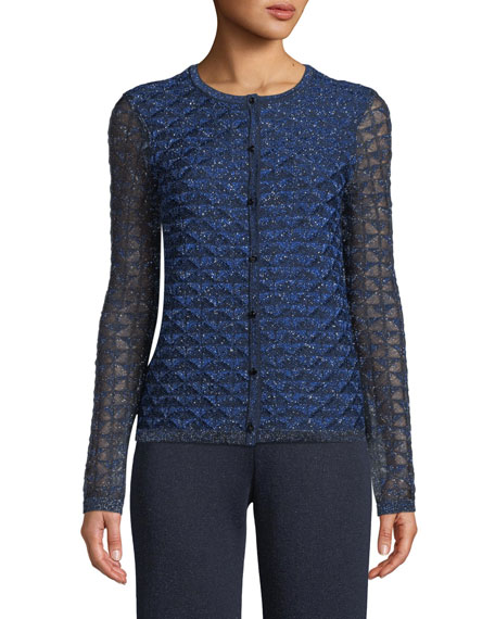 St. John Collection Metallic Diamond Lace Knit Cardigan