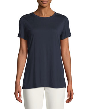6fda555a3a2 St. John Collection Crewneck Short-Sleeve Viscose Jersey T-Shirt w  Sequin