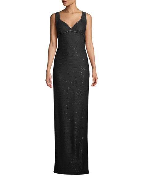 St. John Collection Sweetheart-Neck Sleeveless Links Sequin Evening Gown