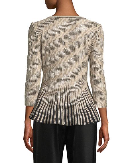 St. John Collection 3/4-Sleeve Sequin Trellis Knit Peplum Sweater