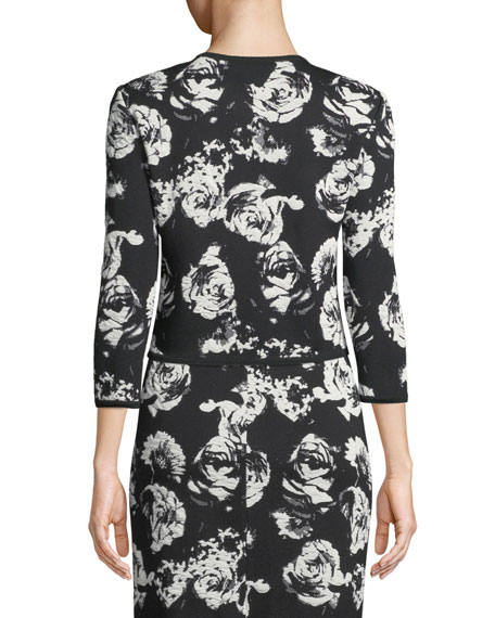 St. John Collection Blister Floral Knit Cardigan