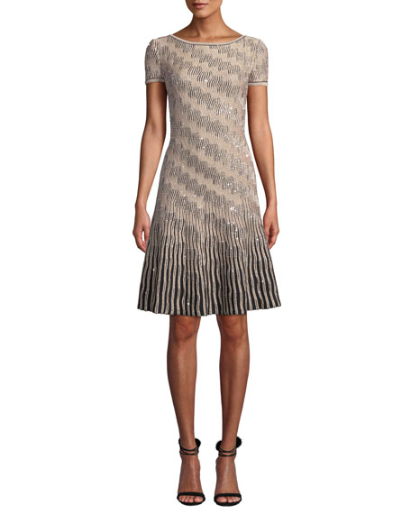 St. John Collection Sequin Inlay Trellis Knit Short-Sleeve A-line Dress