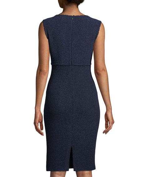 St. John Collection V-Neck Sleeveless Ottoman Wave Knit Dress w/ Back Slit