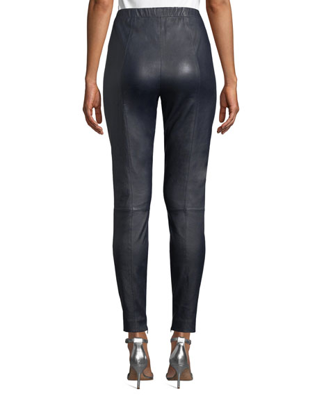 St. John Collection Stretch Napa Leather Cropped Leggings w/ Ankle Zippers
