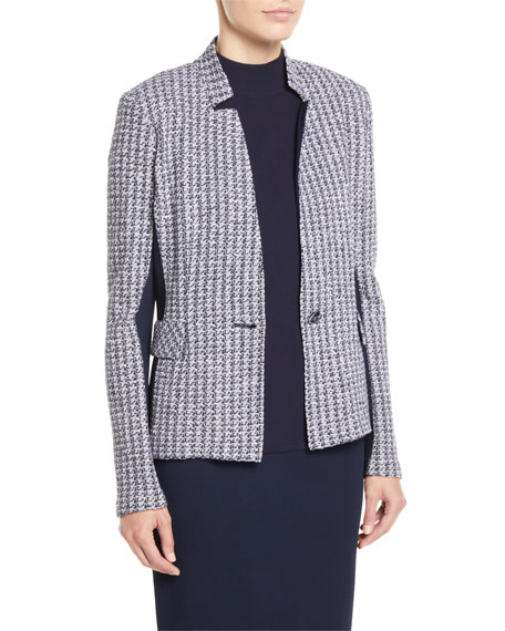 St. John Collection Geometric Knit Jacket w/ Luxe Knit Contrast