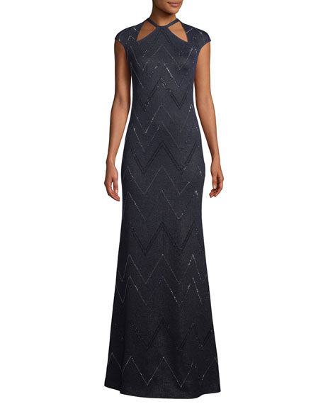 St. John Collection Halter-Neck Cap-Sleeve Mod Zigzag Metallic Knit Evening Gown w/ Sequins