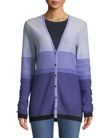 St. John Collection Ombre Stripes Button-Front Sequin Cashmere-Knit Cardigan